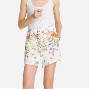 Johnny Was Bloom High Waisted Linen Short M NWT